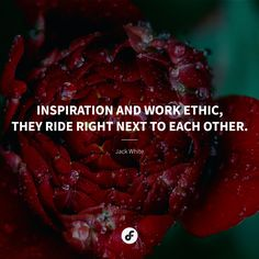 Inspiration and work ethic, they ride right next to each other. White Quote, Work Ethic, Jack White, Enfp, Quote Of The Day, Affirmations, Words, Quotes, Inspiration