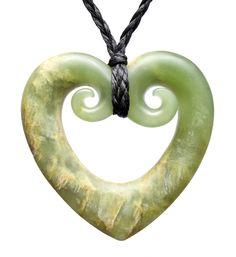 Nz Jade Hollow Double Koru Heart Necklace Mountain New Zealand Too