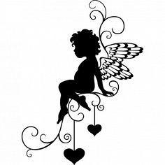 Stickers ange Plus Fairy Silhouette, Silhouette Portrait, Silhouette Design, Kirigami, Wall Stickers Vector, Home Decor Wall Art, Coloring Pages, Vector Free, Art Drawings