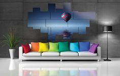Extra large wall art - multipanel 3D - 266x150 cm - 16 pieces. Printed in photo quality on laminated paper. MADE IN ITALY. #quadri3D #astratto #design #abstract #multipanel #wallart #quadri