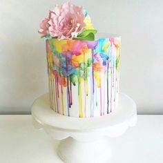 Color drip quinceanera cakes that are almost too pretty to eat gorgeous wedding cake inspiration Gorgeous Cakes, Pretty Cakes, Cute Cakes, Amazing Cakes, Drippy Cakes, Rodjendanske Torte, Quinceanera Cakes, Watercolor Cake, Painted Cakes