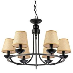 LNC Matte Black Iron 6-light Chandeliers Yellow Pendant L...