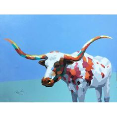 """A playful pop art depiction of a Texas Long Horn! Oil painting on canvas, each painting can vary slightly.  36""""x48"""", with frame measures 44""""x56"""".  Price includes frame."""