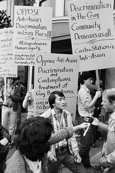 """Randy Kikukawa and friends protest the Castro Station Bar for denying him entrance because he was """"small,"""" 1980"""