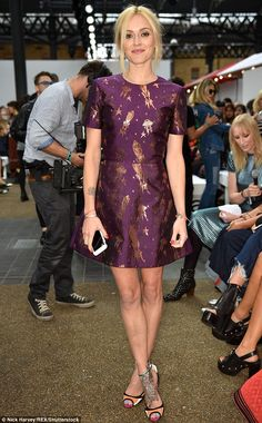 Purple power: Fearne Cotton scored one of the best seats in the house in a feminine plum mini dress decorated with metallic rockets Spring Summer Fashion, Autumn Winter Fashion, Gamine Style, Soft Gamine, Pixie Geldof, Fearne Cotton, Purple Mini Dresses, Fashion Idol, Cotton Style