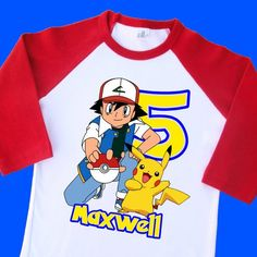 78f30558a Ash and Pikachu Birthday Shirt. Pokemon Personalized Birthday Raglan with  Name and Age. 1st 2nd 3rd