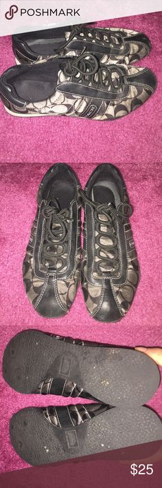 Coach Sneakers Used Coach black and silver Sneakers. In great condition, only worn a few times. Great to dress up or down. Coach Shoes Sneakers