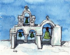 Santorini Oia 8 art print from an original watercolor by AndreVoyy