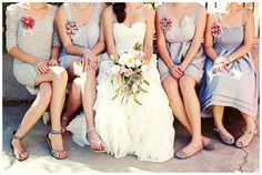Bridesmaids: light blue-grey, same length - either short or maxi dresses (flowy is better!)