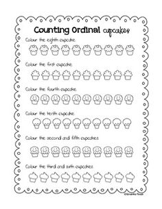 Colouring Cupcakes :) ...more ordinal numbers practice