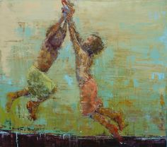 This just TOTALLY reminds me of Trav and Cole on the trampoline. I absolutely love her art! Rope Swing, Love Her, Happy, Pictures, Painting, Art, Photos, Art Background, Swings