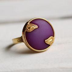 Nouveau Purple Ring ... Plum Indigo Royal Violet Vintage Paisley Art Nouveau. £8.00, via Etsy.