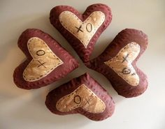 Valentine Hearts Primitive Valentine Message by Handofbelapeck, $12.50
