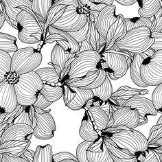Black and White Flowers » patternbank.com/petroulatsipitori #patternbank #newonpatternbank IG: @petroulatsipitori