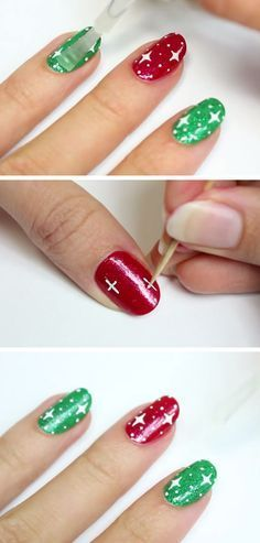Easy Starry Christmas Nails   Click Pic for 20 Easy Christmas Nails Art Designs Winter   Easy Nails Designs for Short Nails