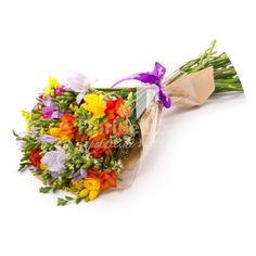 frezii in buchet, frezii parfumate, 39 frezii multicolore, buchet de 39 frezii Martie, Beautiful Flowers, Tasty, Fruit, Pretty Flowers, The Fruit