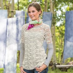 DRIFTING CLOUDS PULLOVER -- A touch of elegance meets ultimate comfort in cozy French terry with overlaid crochet and elegant, sheer yoke with jersey trim