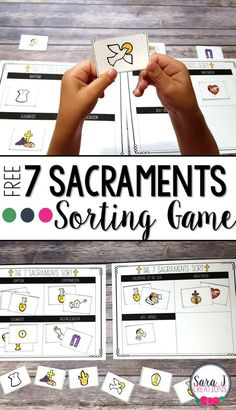 Free Seven Sacraments sorting game is perfect for kids to play in the classroom