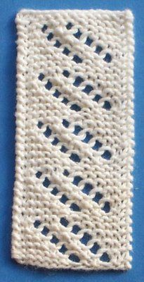 "1884 Knitted Lace Sample Book: ""Torchon Insertion"".  Nice garter stitch panel, love the simplicity."