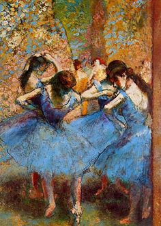 Edgar Degas - Dancers in Blue  Degas was a French artist famous for his work in painting, sculpture, printmaking and drawing. He is regarded as one of the founders of Impressionism.
