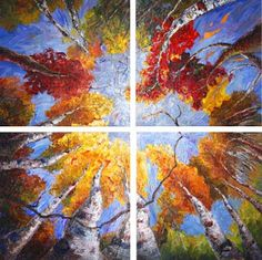 "Landscape Artists International: Just Sold - ""Kaleidoscope of Dreams"" Palette Knife Aspen Tree Painting by Niki Gulley"