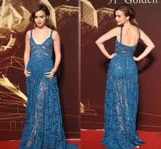 Cheap Evening Dresses Under 50 Lily Collins See Through Evening Dresses 2015 Spaghetti Neck Blue Lace Red Carpet Gowns With Zipper Back And Sweep Train Evening Dress Designs From Nicedressonline, $156.64| Dhgate.Com