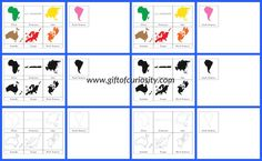 Montessori Continents 3-Part Cards with 3 color options and lots of possible activities for teaching geography to kids!    Gift of Curiosity