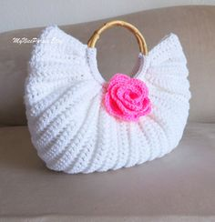 Crochet white fat bottom handbag fashion fall by MyNicePurses, $45.00