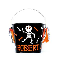 Personalized Skeleton Halloween Trick Or Treat Bucket / Bones / Trick Or Treat Pail With Name by RayneEDayCrafts on Etsy