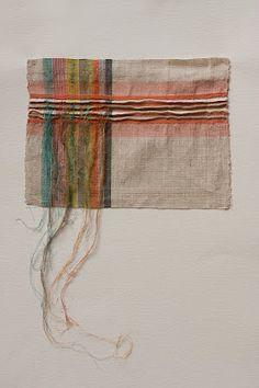 'Linen/Silk Stripe' by Welsh textile designer Penny Wheeler. source: arts thread. via the warp and weft blog