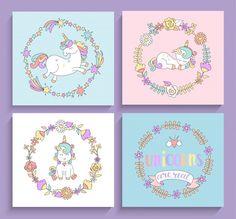 Conjunto de tarjetas mágicas de unicornios con marcos de círculo. Vector Premium