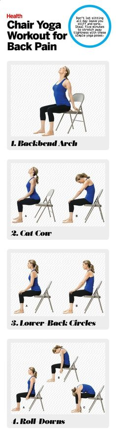 Easy Yoga Workout - These chair yoga poses work great for anyone with back pain. | Health.com Get your sexiest body ever without,crunches,cardio,or ever setting foot in a gym #YogaTips102
