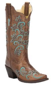 Corral Women's Brown with Turquoise Floral Inlay