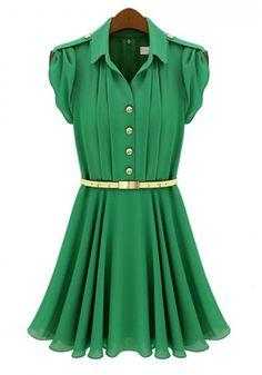 Green Falbala Single Breasted Lapel Chiffon Dress