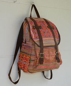 Orange Backpack Book Bag Handmade HMONG Vintage Fabric Fair Trade Thailand (bg510)