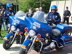 Michigan State Police Harleys ready for patrol.