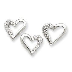 Sterling Silver CZ Heart and Earring Set - JewelryWeb JewelryWeb. $26.00. Save 50%!