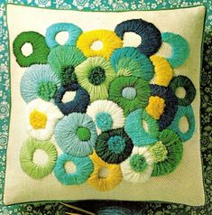 "Vintage Erica Wilson ""Circles on the Square"" Crewel Embroidery Pillow Kit #ColumbiaMinerva"