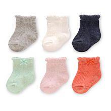 Carter's Girls 6 Pack Pointelle Heathered Socks