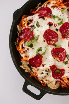 SPIRALIZED SWEET POTATO PIZZA BAKE WITH TURKEY PEPPERONI