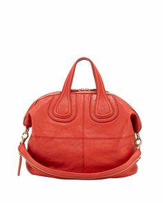 Nightingale Medium Zanzi Satchel Bag, Red by Givenchy at Bergdorf Goodman. Givenchy Handbags, Leather Handbags, Leather Handle, Red Leather, Givenchy Women, Red Handbag, Red Shoes, Nightingale, Things To Sell