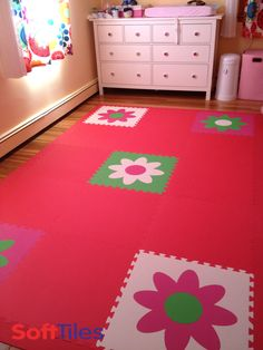 SoftTiles Die-Cut Flower Mats are used as accents in this playroom floor. The foam mats provide a cushioned surface thats fun for kids to play on. #softtiles #playroom