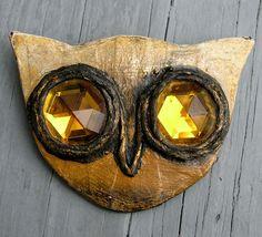 Enid Collins Papier Mache Owl Brooch
