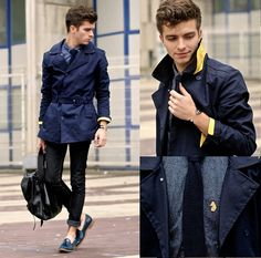 Asos Yellow Linen Trench Coat, Luke Roper Sharkskin Like Printed Shirt, Cheap Monday Skinny Jeans, Patent Loafers, Jack & Jones Knitted Tie