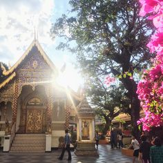#Sundown over the #temple on #DoiSuthep. #ChiangMai #Thailand #Asia #Budismus #Flowers