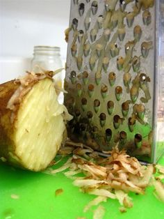 Grate a potato after the cheese to clean it all!