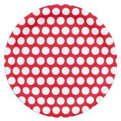 "Custom White Polka Dot Christmas Paper Plates 9"""