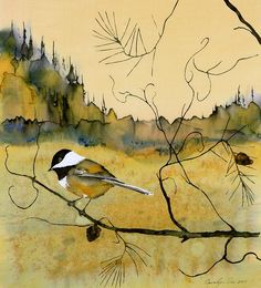 """Chickadee In Dancing Pine"" beautifully done textile painting - Batik on Silk Fabric; very difficult medium and so I highly appreciate it!  Hope you do, also."