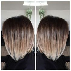 Straight Lob Hair Cuts - Brown to Blonde Balayage Ombre Hairstyles