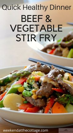 This healthy BEEF & VEGETABLE STIR FRY comes together in less than 20 minutes. Marinated beef, stir fried with you favourite veggies. Serve on rice or noodles for a complete dinner. Perfect for a week night dinner and healthy meal. Beef Vegetable Stir Fry, Vegetable Dishes, Stir Fry Recipes, Beef Recipes, Healthy Recipes, Asian Recipes, Chicken Recipes, Recipies, Asian Stir Fry